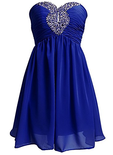 Azbro Women's Strapless Rhinestone Chiffon Short Cocktail Dress Burgundy