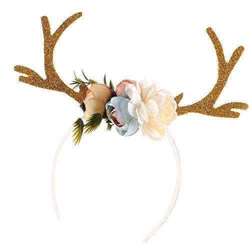 Haarreif Rentier Geweih Blumen Haarschmuck für Erwachsene Kinder - Khaki ()
