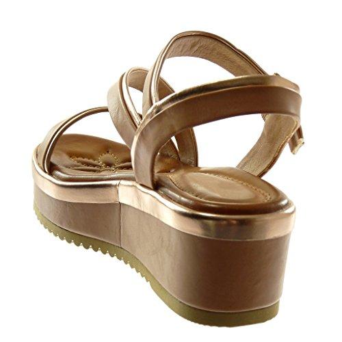 Angkorly Chaussure Mode Sandale Mule Lanière Cheville Plateforme Femme Bicolore Multi-Bride Métallique Talon Compensé Plateforme 6 cm Beige