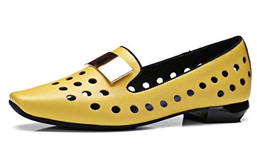 I grezzi scarpe tacco basso con le scarpe single vuoti scarpe a testa quadra traspiranti Yellow