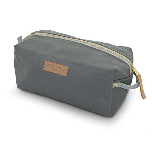 Aspegren Kulturbeutel, Kosmetiktasche Canvas Cube Mano Grey small grau