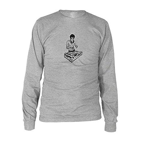 Dj Bruce - Herren Langarm T-Shirt, Größe: L, Farbe: grau meliert (Music Man Film Kostüme)