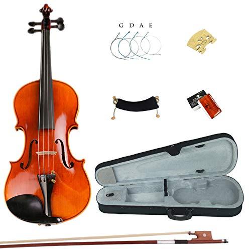 Esound 1/2 ES051 Professionel Handgemacht Massivholz Violine Tiger Muster Geige mit Hartschalenkoffer, Schulterstütze, Bogen, Kolophonium und Zusätzliche Saiten -