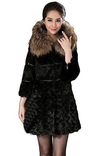 Queenshiny Damen 100% Echte Kaninchen Pelz Lange Mantel Jacken Mit Waschbär Pelz Kragen Mit Kapuze Winter Mode Schwarz