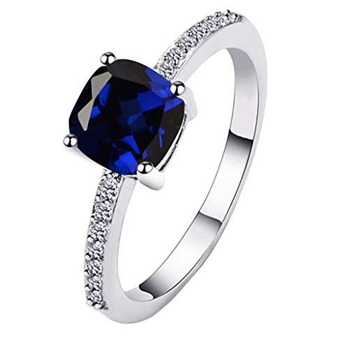 Floweworld Damen Exquisite minimalistische Diamantringe geometrische Seite Square Ring Damen Schmuck Geschenke