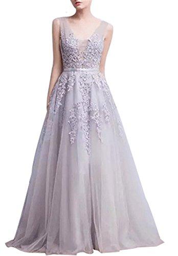 CoutureBridal® Kleid Damen Kleid graziös mit V-Ausschnitt Brautjungfer Cocktailkleider 2016 Neue Grau