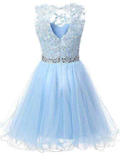 Carnivalprom Damen Cocktailkleider Tüll Abendkleider Kurz Spitzenkleider Romantik-Kleider Brautjungfernkleider Mit Perlen Lavendel