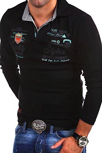 MT Styles Langarm Poloshirt EXCURSION T-Shirt R-0657 [Schwarz, XXL]