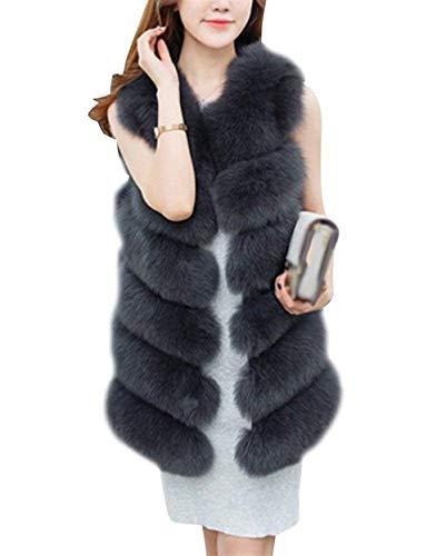 Bolawoo gilet di pelliccia donna addensare caldo pelliccia sintetica cappotto invernali mode di marca prodotto plus smanicato eleganti vita alta canottiera di pelliccia giaccone giacca puro colore
