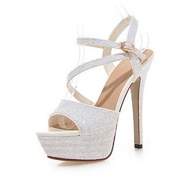 Talloni delle donne Primavera Estate Autunno Wedding sintetica di feste ed abito da sera con paillettes Stiletto Heel Nero Bianco del nastro dell'oro Sliver