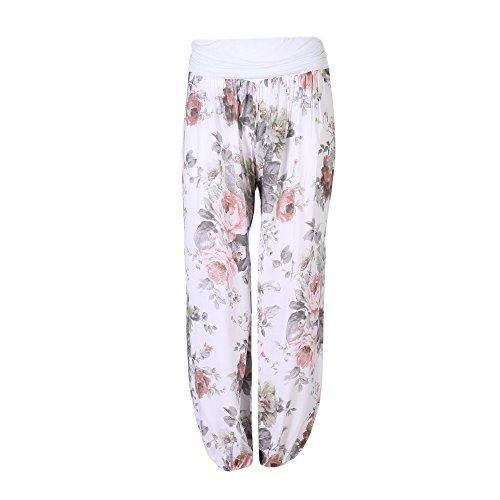 FASHION YOU WANT Damen Pumphose Sommerhose Haremshose mit Rosen Muster (44/46, weiß)