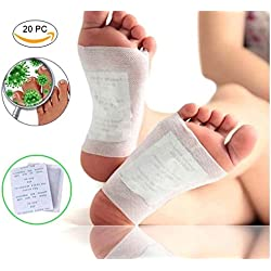 Denfive 20 Detox Fuß Pflaster zum Entschlacken und zur Entgiftung - Bambuspflaster zur Stärkung Ihrer Gesundheit - Detox Vital Pad Zum Abnehmen Auf Natürliche Art - Detox Pflaster