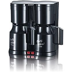 SEVERIN Duo-Kaffeemaschine, Für gemahlenen Filterkaffee, 2x 8 Tassen, Inkl. 2 Thermokannen und Teefilter, KA 5828, Schwarz