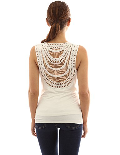 PattyBoutik femmes blouse sans manche à col benitier et de dentelle à dos Blanc
