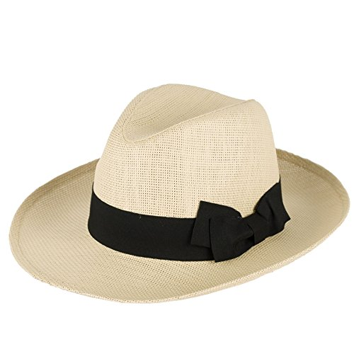Hommes Femmes Chapeau Fedora Casquette Natural Straw