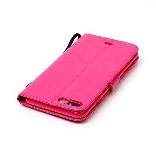 Wkae Case Cover Heart and Bow Rhinestone Case Embossed Fleurs étui en cuir PU Case Portefeuille avec dragonne pour iPhone 7 plus by DIEBELLEU ( Color : Gold , Size : Iphone7 Plus ) Red