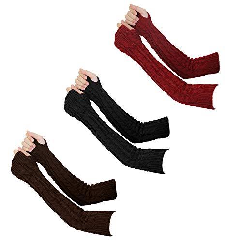 guanti lunghi senza dita CODIRATO 3 Paia Guanti Invernali a Maglia Guanti Lunghi senza Dita Scaldabraccia Manicotti per Donne Ragazze (3 Colori)
