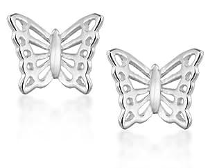 Tuscany Silver Sterling Silver Filigree Butterfly Stud Earrings