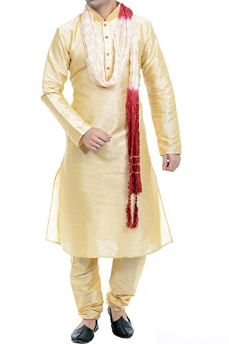 Vastramay Men's Gold Cotton Silk Kurta, Pyjama & Dupatta Set (Color Gold)