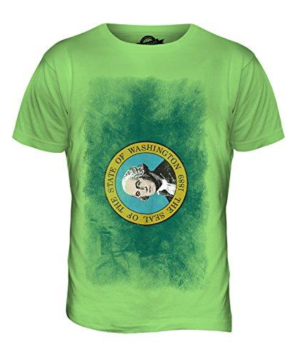 CandyMix Bundesstaat Washington Verblichen Flagge Herren T Shirt Limettengrün