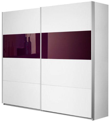 Rauch Schwebetürenschrank 2-türig Weiß Alpin, Glas Absetzung Brombeer, BxHxT 226x210x62 cm