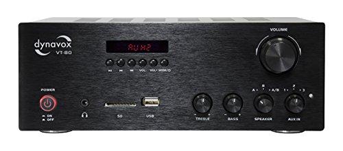 Dynavox Stereo Kompakt-Verstärker VT-80 schwarz, schraubbare Anschluss-Terminals für 4 Lautsprecher, Fernbedienung für Digital-Eingänge (USB, SD-Card), integrierte BT-Antenne (Stereo-verstärker Fernbedienung)