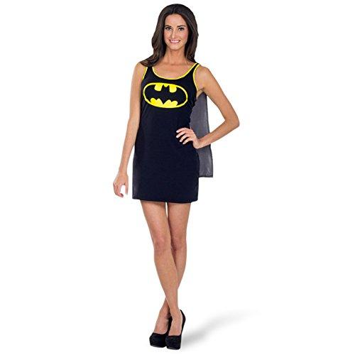 Für Kostüme Batgirl Frauen (Batgirl Kostüm Damen Mini Kleid mit abnehmbarem Umhang DC Comics lizenziert -)
