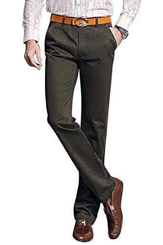 INFLATION Herren Anzughose Business Hose Regular Fit Straight Leg Hose Lang Army Grün DE 27 (Etikett 29)