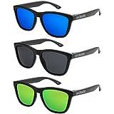 X-CRUZE® - Confezione da 3 occhiali da sole nerd polarizzati vintage stile retro unisex uomo donna occhiali da nerd - nero opaco LW - Set F -