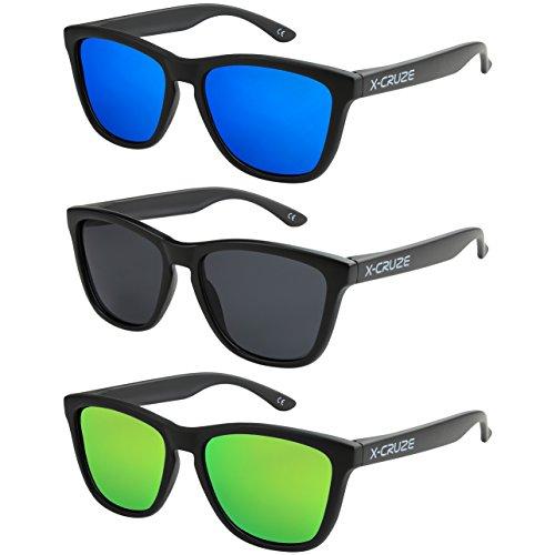 X-CRUZE 3er Pack X0 Nerd Sonnenbrillen polarisierend Vintage Retro Style Stil Unisex Herren Damen Männer Frauen Brillen Nerdbrille Nerdbrillen - schwarz matt LW - Set F -