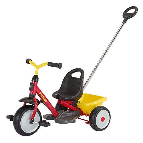 Kettler Dreirad Startrike - hochwertiges Dreirad mit Schubstange - robustes Kinderdreirad mit Kunststoffrädern - rot & gelb