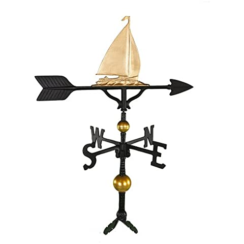 Montague Metal Products 32-Inch Deluxe Weathervane with Gold Sailboat Ornament