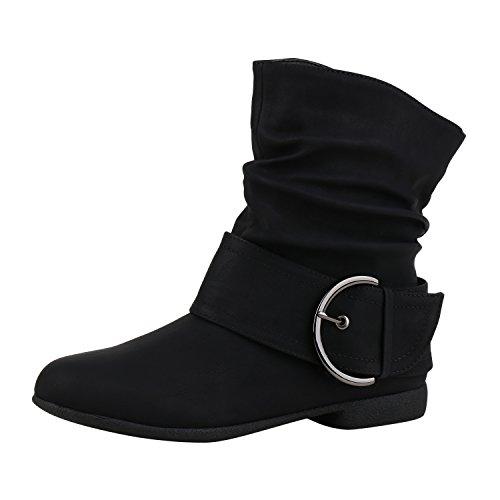 napoli-fashion Damen Schuhe Schlupfstiefel Schnallen Gefütterte Stiefeletten Winter Schwarz Schnallen 39 Jennika (Stiefeletten Schnalle Schwarz)