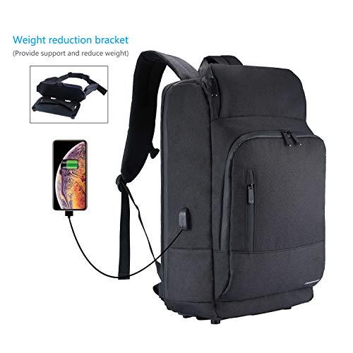 15-17,3 Zoll Leichter Laptop Rucksack mit Taillen-Dekompressionsgerät Große Reise Backpack mit USB-Ladeanschluss Für Business Wandern - Schwarz