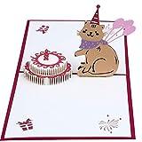 MUROAD Creativo 3D Biglietto di Auguri Compleanno - 3D pop up Carta per Bambini, Gatto e Torta