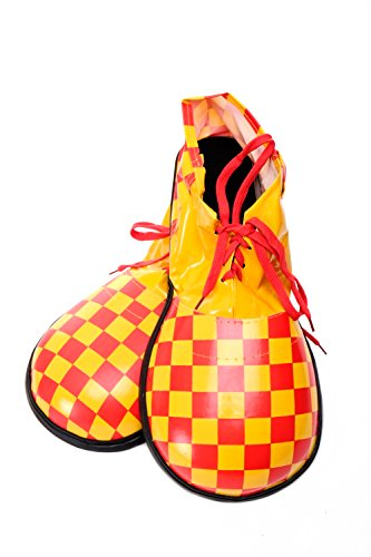 DRESS ME UP - Kostüm Karneval Zirkus übergroße Clownschuhe Clown gelb rot kariert (Erwachsene Für Zirkus Kostüme Clown)