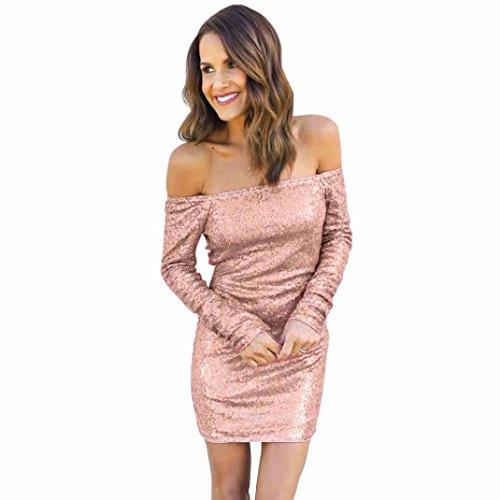 Striped Bodycon Mini (Bodycon Kleider Damen ,LMMVP Frauen Weg Vom Schulter Langes Hülsen Kleid Partei Abend Kleid (L, Pink))