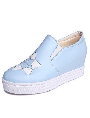 ShangYi gyht Scarpe Donna-Mocassini-Tempo libero / Formale / Casual-Plateau / Creepers / Punta arrotondata-Zeppa-Finta pelle-Nero / Blu / Rosa / Bianco Blue