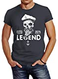 Neverless Herren T-Shirt Skull Captain Legend Totenkopf Bart Kapitän Slim Fit dunkelgrau XXL