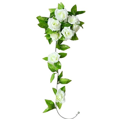 Fami 1 PC Artificial Rose Flower Rattan Green Leaf Vine Garland Home Wall Party Wedding Decor (Blanc)
