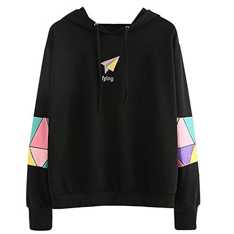 Sweatshirt Femme Imprimé, LMMVP Femmes Fille Manche Longue Sweat à Capuche Pullover Sweat-shirt Chemisier (L, Noir)