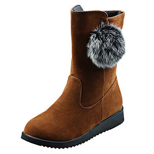 MYMYG Damen Schneestiefel Chelsea Boots Frauen Flache Schuhe Hairball Schneeschuhe Wildleder Reißverschluss Stiefel Runde Zehe Warm halten Boot Herbst Winter Freizeitschuhe