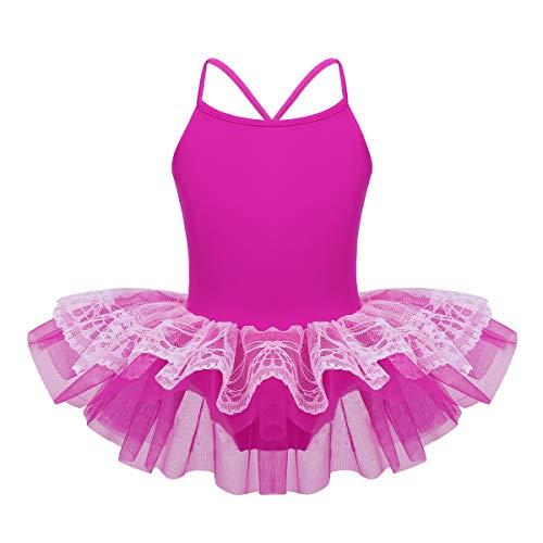 ranrann Niña Vestido de Danza Ballet Maillot de Ballet Tutú Falda de Encaje Traje de Disfraz de Bailarina Leotardo de Gimnasia Ritmica para Niña 2-10 Años Rosa Rojo 2 Años