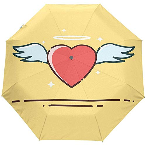 Merle House Engelsherz mit Flügeln Halo Star Love Auto Regenschirm Winddicht, Reisestabil UV-Schutz Regenschirm Sonnen- und Regenschirme für Männer und Frauen, Automatisches Öffnen und Schließen
