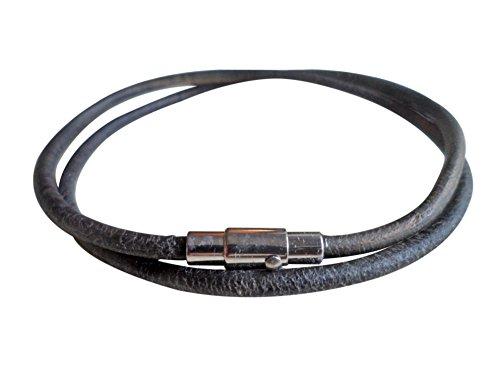 Tobillera estilo antiguo de cuero negro de 3mm con un cierre magnético de acero inoxidable auténtico, de ShoreThing UK, personalizable