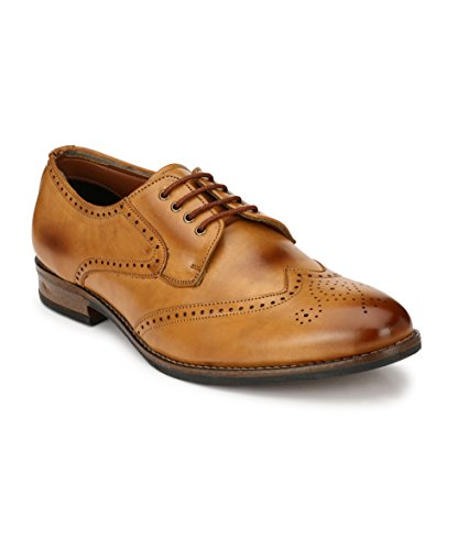 Real Blue Men's Tan Lace Up Formal Shoes Size:- 10