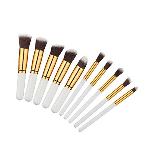 TC 10pcs Kabuki Style Professional Make up Brush Set Foundation Blusher Face Powder (White/Gold)
