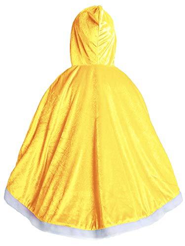 FStory&Winyee Mädchen Umhang Samt Cape mit Kapuzen Kinder Eiskönigin Kostüm Prizessin Cinderella Belle Umhang Blau Pink Gelb für Cosplay Karneval Verkleidung Party Fasching - Belle Samt Kostüm