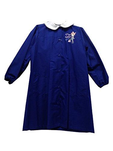Grembiule scuola elementare bambina AMBROSINO blu, lungo