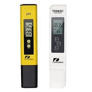 Pancellent Wasserqualitätstest Meter TDS PH 2 in 1 Set 0-9990 PPM Messbereich 1 PPM Auflösung 2% Ablesegenauigkeit (Gelb)